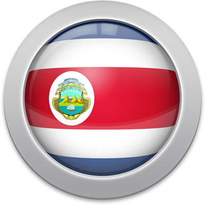 Costa Rican flag icon with a silver frame