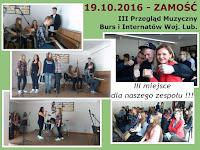 III miejsce dla naszego zespołu w III Przeglądzie Muzycznym Burs i Internatów Województwa Lubelskiego