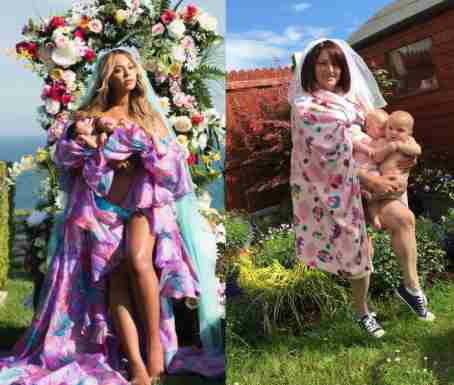 Mum and her twins recreate Beyonce's baby shoot in her garden