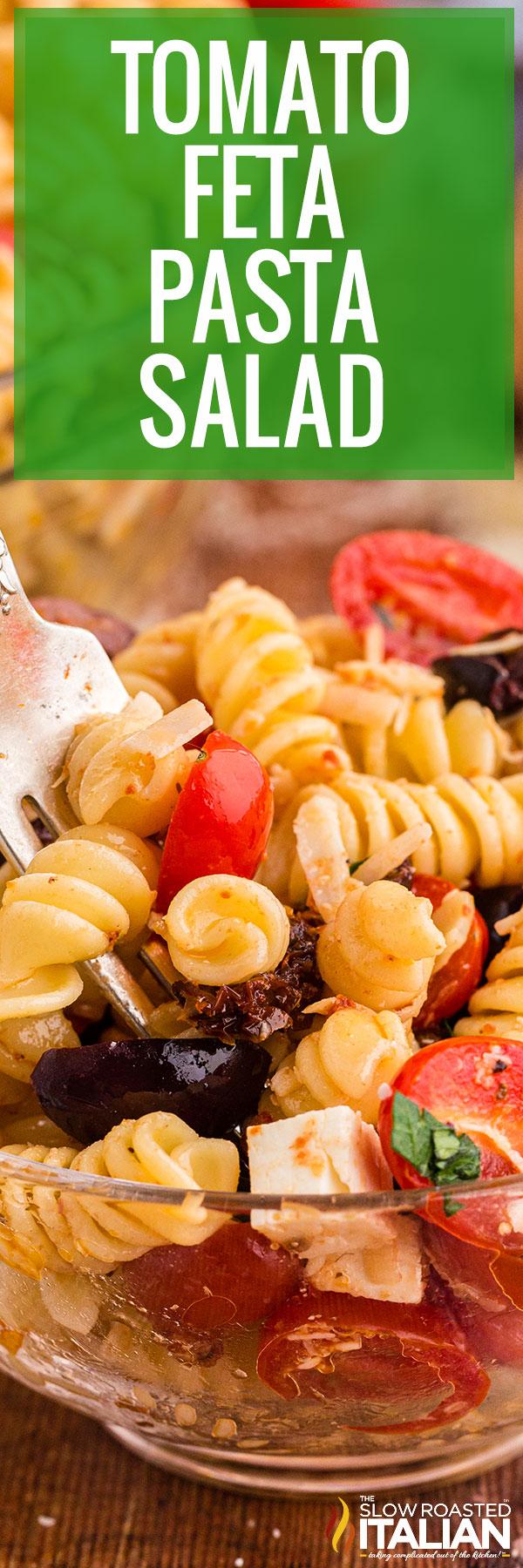 Tomato Feta Pasta Salad closeup