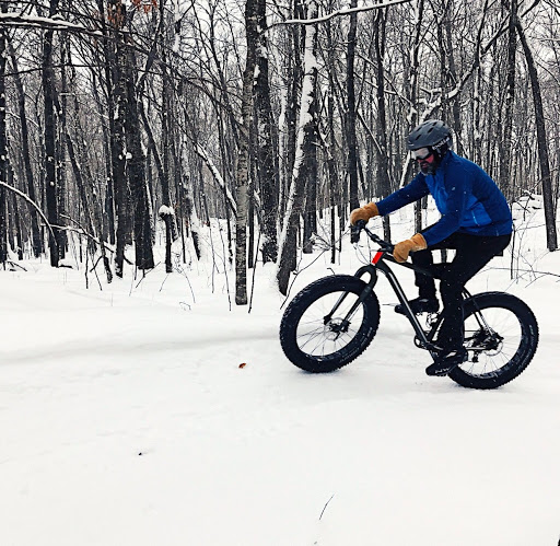 Steve Wenzel riding the Hudson's Hula segment as part of the Twin Lakes groomed fat bike loop. January 8th, 2017. Photo:Peder Arneson