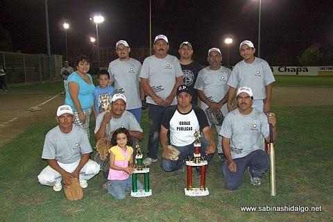 Equipo Obras Públicas del torneo de softbol de burócratas municipales