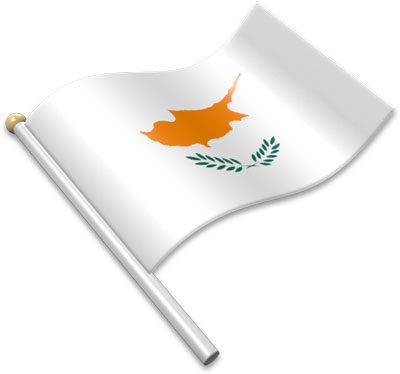The Cypriot flag on a flagpole clipart image