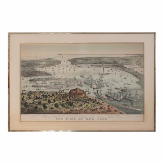 Currier and Ives 'The Port of New York' Lithograph