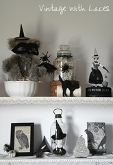 Black and White Halloween Decorations by Vintage with Laces