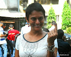 Lok Sabha Elections 2014: Bollywood actress Kritika Desai   casts her vote at a polling booth in Bandra. On 24 April 2014 PIC:SAYYED SAMEER ABEDI