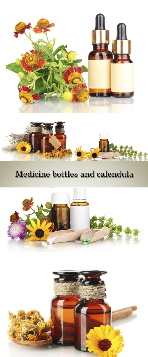 Stock Photo: Medicine bottles and calendula, isolated on white
