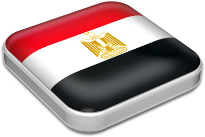 Flag of Egypt with metallic square frame