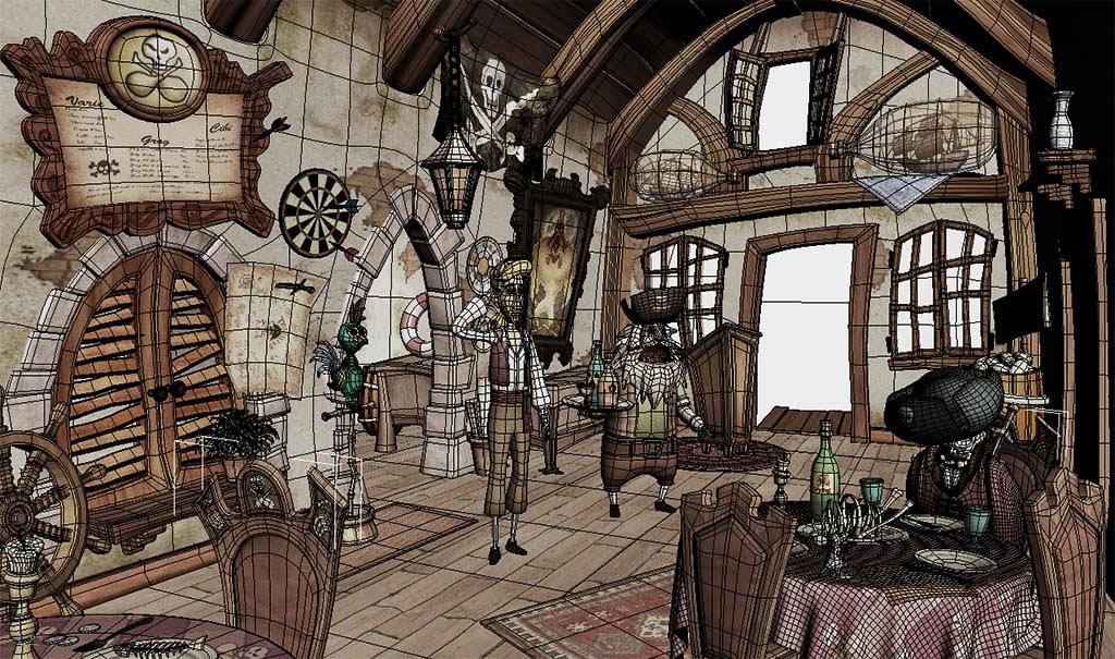 "Photo: ""Blondebeard's Restaurant"" wireframe  Author: Gaston Nicolas Alanis"