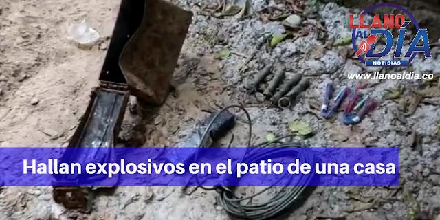 HALLAN EXPLOSIVOS EN PATIO DE VIVIENDA RURAL EN VILLAVICENCIO