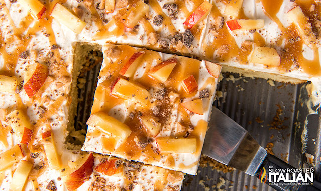 Caramel Apple Poke Cake in a sheet pan
