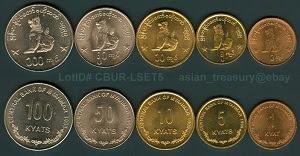 Gambar mata uang negara Myanmar yang bernama kyat