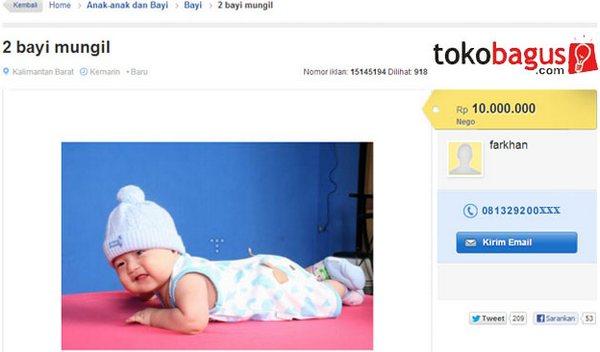Iklan Jual Bayi di Tokobaguscom