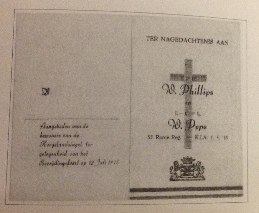 Bidprentje voor troopers Pope en Philips