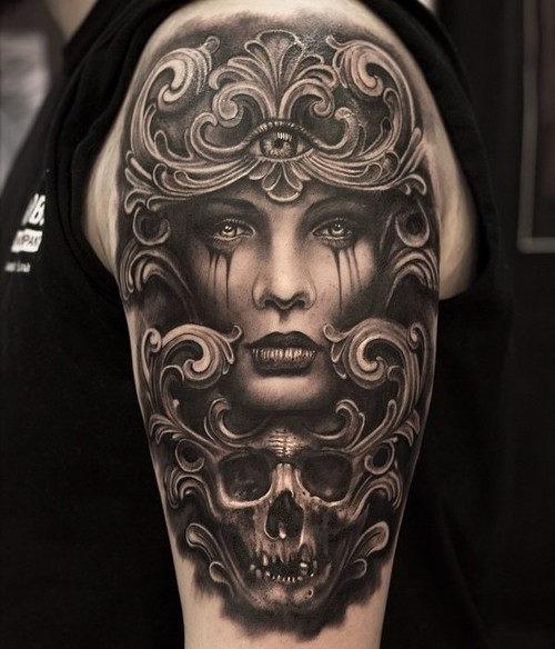 este_romanos_gravados_tatuagem_de_caveira
