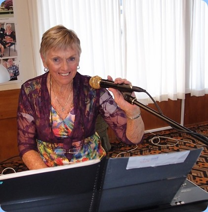 Jeanette Harding played her Korg Pa3X with added vocals. Photo courtesy of Dennis Lyons.