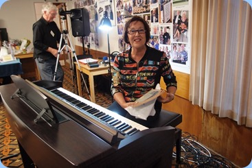 Mary Elvin playing the Club's Clavinova CVP-509. Photo courtesy of Dennis Lyons.
