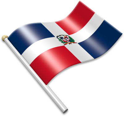 The Dominican flag on a flagpole clipart image