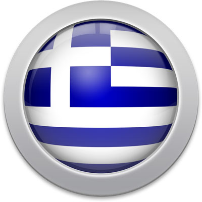 Greek flag icon with a silver frame