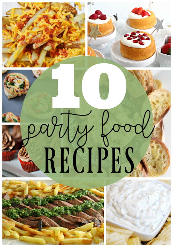 10 Party Food Recipes at GingerSnapCrafts.com #party #partyfoods #recipes