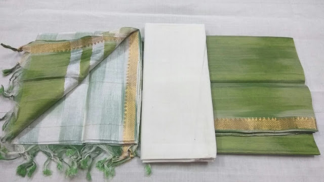Parrot green color Mangalagiri Semi Silk Dress materials