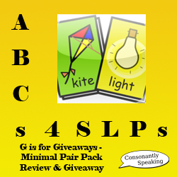 ABCs 4 SLPs: G is for Giveaways - Minimal Pair Pack Review and Giveaway image