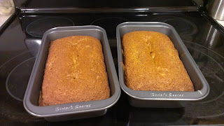 Pour into two loaf pans and bake