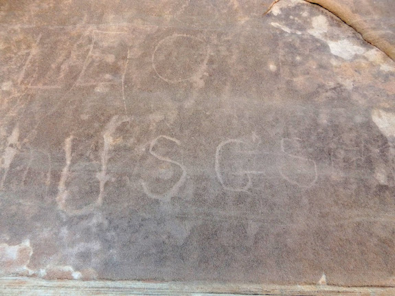 Inscription in North Temple Wash:  USGS