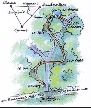carte du sentier des 6 frères entre Badménil aux Bois et Moyemont