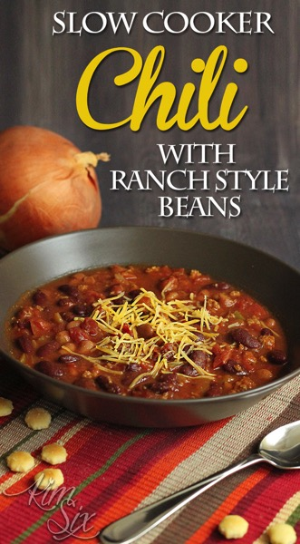 Easy slow cooker chili with ranch style beans. A great easy beef and bean chili in the crock pot!