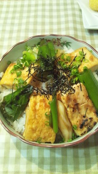 豆腐とねぎの照り焼き丼