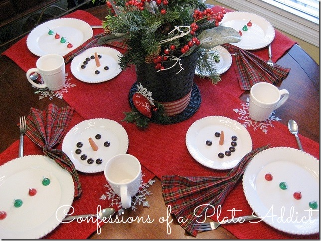 CONFESSIONS OF A PLATE ADDICT Wintery Snowman Tablescape