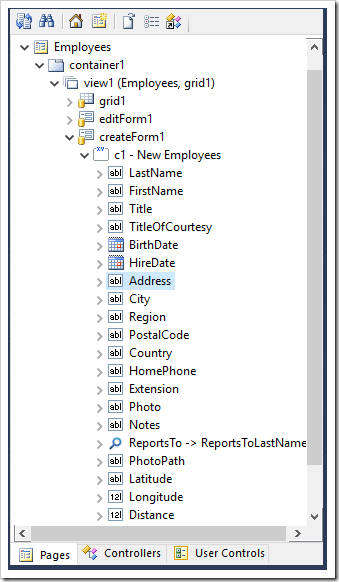 Selecting the Address data field of createForm1 view of Employees controller.