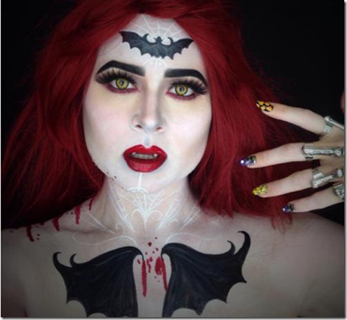 Maquillaje de Halloween murciélago en la frente