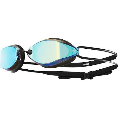 TYR Tracer X Racing Nano Mirrored Goggle: Black Frame/Black Gasket/Gold Metallic Mirrored Lens