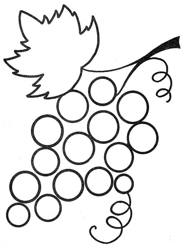 Pinto Dibujos: Racimo de uvas para colorear