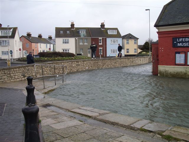 Flooding at high tide and with a westerly gale - Easter 2008