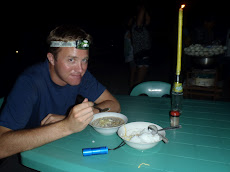 street food dinner- beef mami by head torch. Coron loses power about 18 hours a day so everyone needs at least 1!