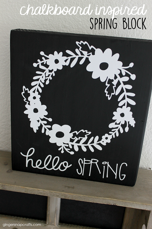 chalkboard inspired spring block by GingerSnapCrafts.com