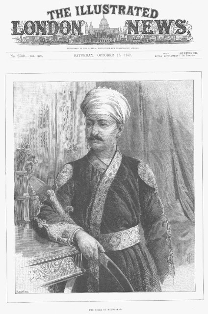 Asaf Jah VI (r.1869-1911), Nizam of Hyderabad; an engraving by R. Taylor, Illustrated London News, 1887