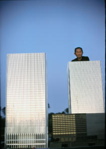 color photograph of Minoru Yamasaki, World Trade Center Architect with model of the buildings by Tony Vaccaro, 1969.