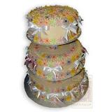 64. kép: Ünnepi torták - Három szintes sok színes virágos szalagos torta