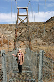 Mom on the Star Mine Suspension Bridge over the Red Deer River