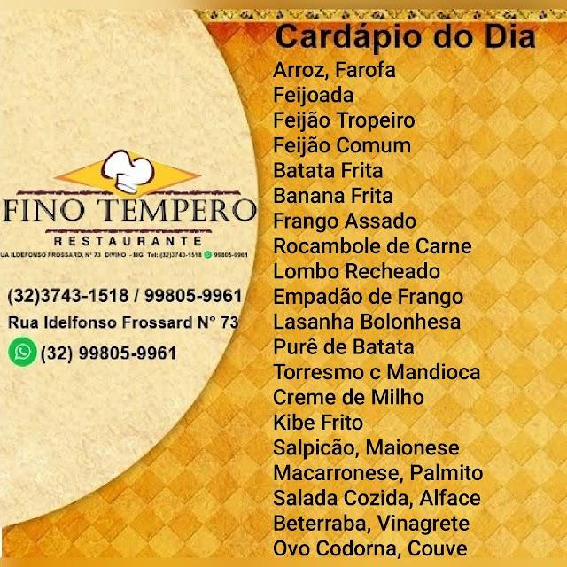 O melhor almoço de Divino é no Fino Tempero Restaurante - Confira o Cardápio para hoje