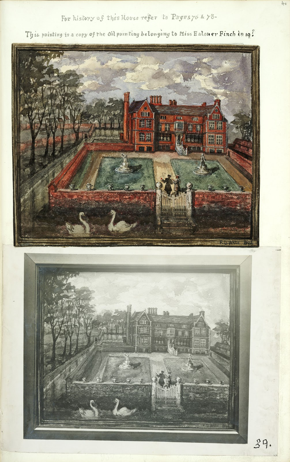 A Record of Shelford Parva by Fanny Wale P39 fo. 40, page 39: A watercolour copy in colour of an oil painting of Pallavicini's House belonging to Miss E. Finch, copied by F.L. Wale in 1892, with black and white photograph of same.  [not in photographic copy]