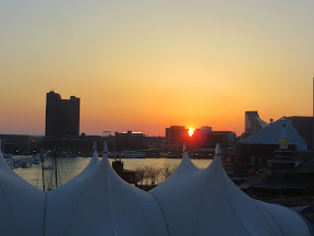 Sunsets seen from the Inner Harbor Baltimore Maryland