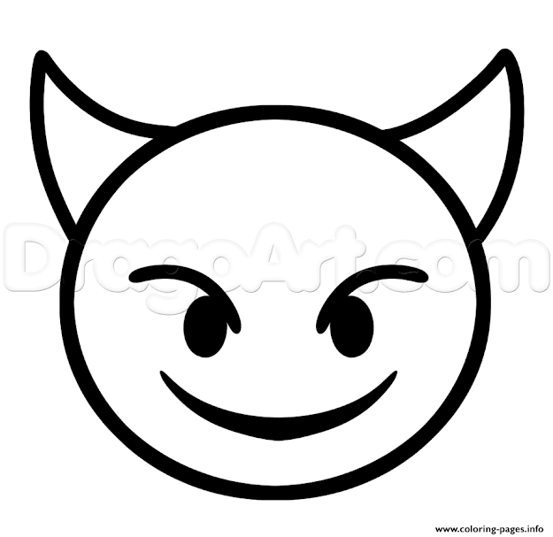 Print How To Draw Devil Emoji Step Coloring Pages Printable Heart