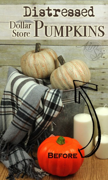 Distressed dollar store pumpkins before and after