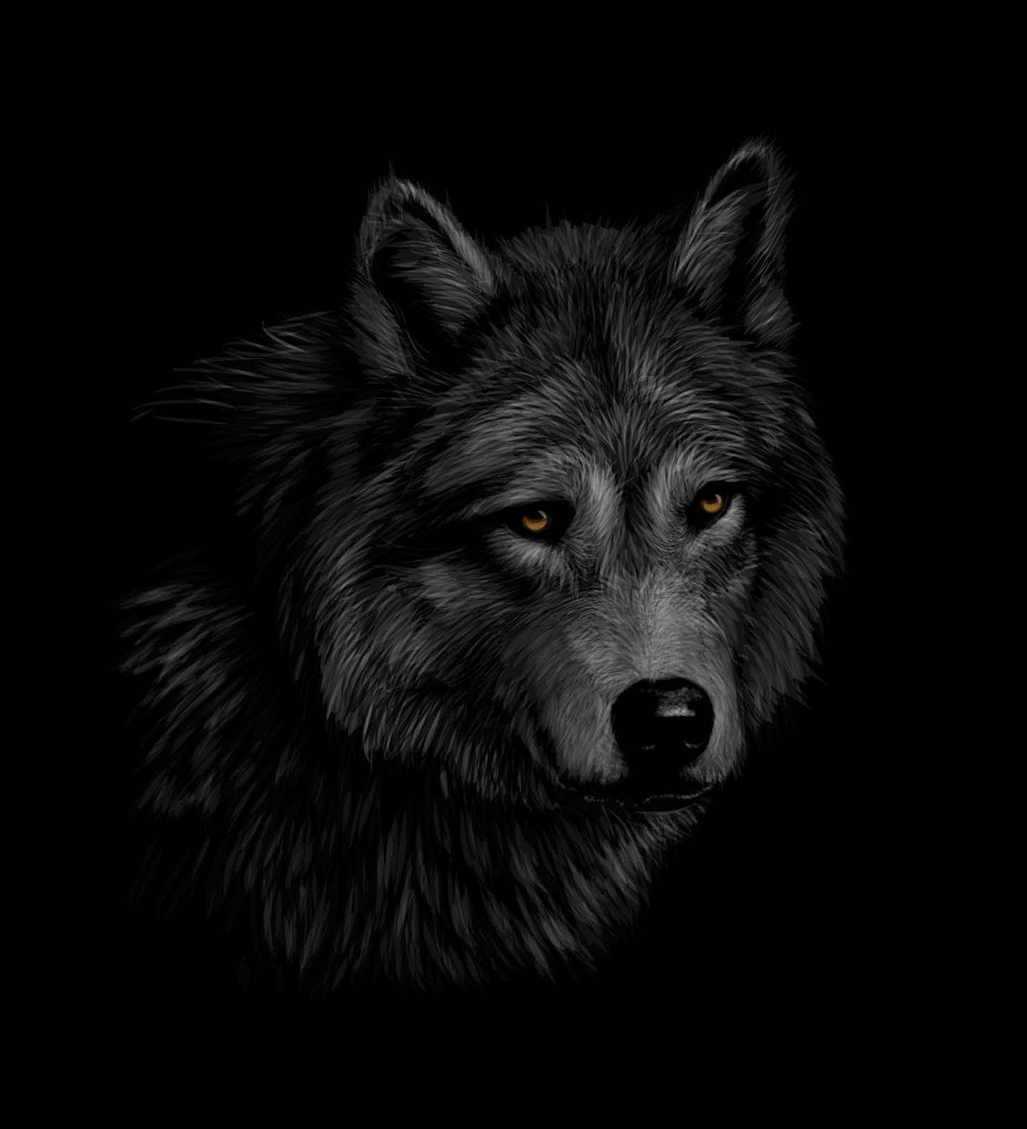 Portrait Wolf Head Black Background Vector Illustration Free Download Vector CDR, AI, EPS and PNG Formats
