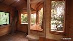 木を避けて流れるように配置された曲線の窓(右から3つ)。すべて手作りの窓枠に入っています。一番左はアルミサッシ:網戸もつけられるし、壁ごとゆがむツリーハウスにあっても長年開け閉めが可能。